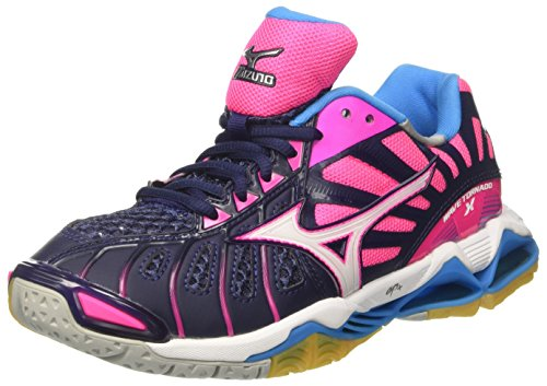 Mizuno Women's Wave Tornado X WOS Volleyball Shoes, Multicolor (Peacoat/White/pinkglo), 4.5 UK
