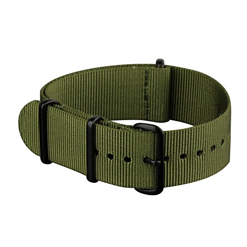 Infantry Watch Bands for Men Canvas Fabric NATO Watch Strap, 4 Rings Stainless Steel Buckle 22mm Green