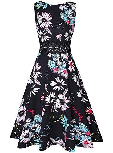 Owin Vintage-Kleider für Damen, im 50er-Jahre-Stil, Rockabilly-Stil, Swing-Stil, mit Blumenmuster, Cocktail-Kleid für Bälle, Partys, für den Frühling, Garten Gr. XX-Large, Floral-44