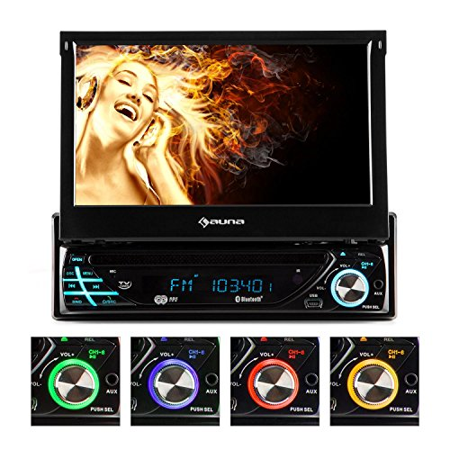 auna MVD-220 Autoradio Moniceiver Car-Radio Car-HiFi (DVD-Player, Bluetooth, USB-Port, SD-Slot, AV-Eingang, UKW RDS Tuner, 7