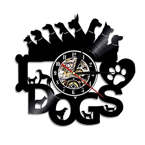 RFTGH Amo a los Perros Disco de Vinilo Arte de la Pared Reloj Cachorros Diferentes Razas de Perros decoración del Dormitorio del hogar Reloj Vintage Regalos para los Amantes de los Cachorros