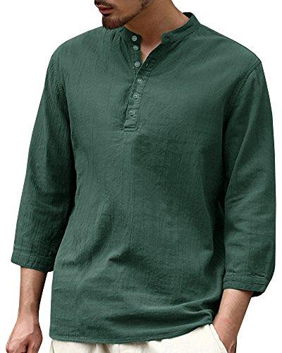 Camicia da uomo con maniche a 3/4, in lino, per il tempo libero, con colletto alto, slim fit, estiva, casual, primavera, a maniche lunghe C-verde XL