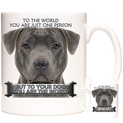 Taza de cerámica con diseño de perro Staffordshire Bull Terrier, ideal para regalar a tu perro que eres el mundo. Apto para microondas y lavavajillas.