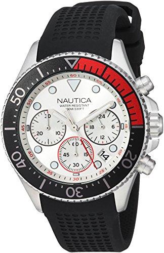 Nautica Herren analog Japanisch Quarz Uhr mit Silikon Armband NAPWPC001