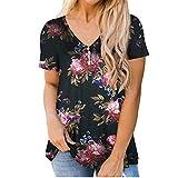 2021 Nuevo Camiseta de Mujer, Verano Moda Impresión Talla Grande Manga Corta Elegante Blusa Camisa Cuello en V Camiseta Larga Casual Suelto Tops Fiesta T-Shirt Original tee Ropa de Mujer