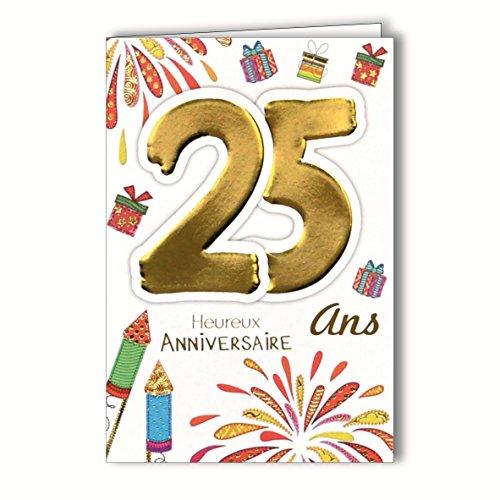 Age MV 69–2027tarjeta aniversario 25años joven hombre Mujer Diseño de fuegos artificiales,...