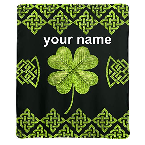 Qearl Irish Shamrock Four-Leaf Clover with Celtic Decor Tapestry Custom Blanket with Name Text,Personalized Super Soft Fleece Throw Blanket for Couch Sofa Bed (50 X 60 inches)