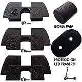 3dPrinted 3X Amortiguador de Goma 3D Flexible Anti holgura y vibración, 1x tapón Goma Patilla, 1x protección led para xiaomi mijia M365 M187 Scooter eléctrico (Negro)