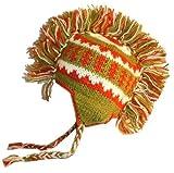 941 H Hand Knitted 100% Wool Mohawk Hat [941- Green Orange]