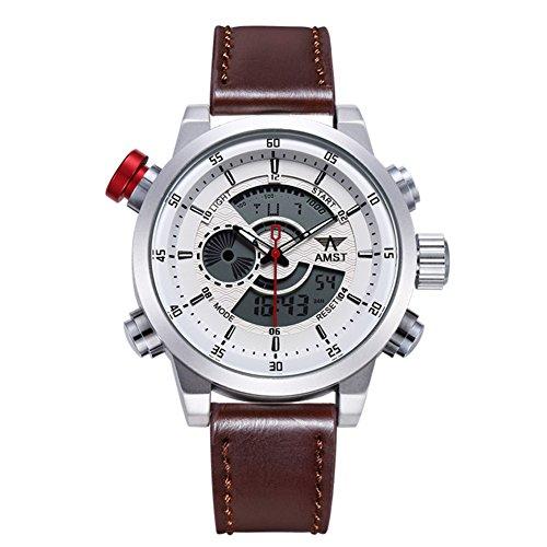 AMST Uhr Herrenmode Military Dual Display LED Digital Armbanduhren Braun