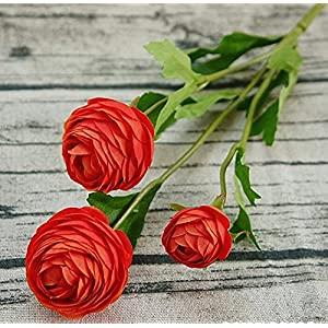 Artificial and Dried Flower 12pcs/lot 3 Heads Small Artificial Ranunculus Asiaticus Flower Bundle Fake Persian Buttercup Silk Tea Rose Decorative Flowers – ( Color: Orange )