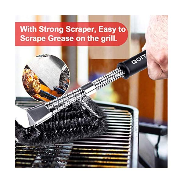 Qomolo Grill Brush 3 in 1 BBQ Grill Brush with Strong Stainless Steel Scraper Grill Cleaning Brush for Charcoal Electric… 5