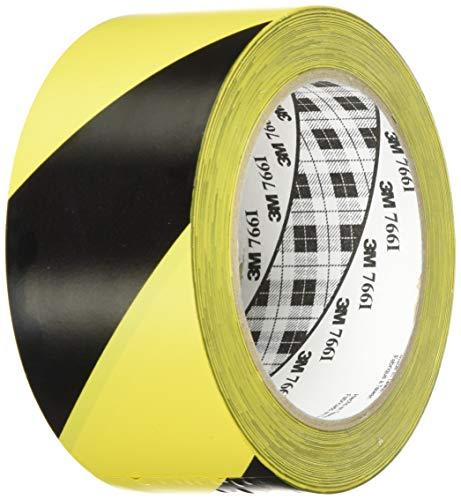 3M Gefahren-Markierungs-Klebeband 766i, Gestreiftes Warnband zur Boden- und Sicherheitsmarkierung mit PVC-Träger in Schwarz-Gelb, 50mm x 30m, 0,13mm