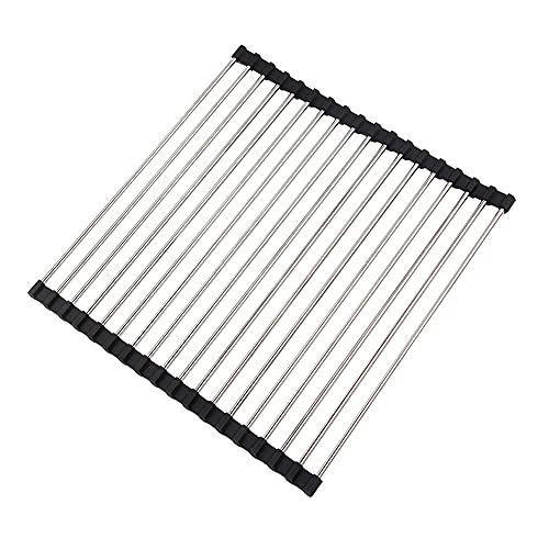 U/D Escurreplatos, Escurreplatos Plegable, Escurridor Fregadero, Escurreplatos Acero Inoxidable, Rejilla Fregadero, Escurridor Platos Plegable, Escurridor Enrollable, 45 x 37 cm