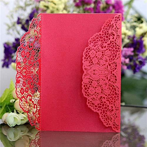 Piero 10st Trouwkaarten Kaart Elegante Verjaardag Envelop Cover Event Feestdecoratie Cover, Rood