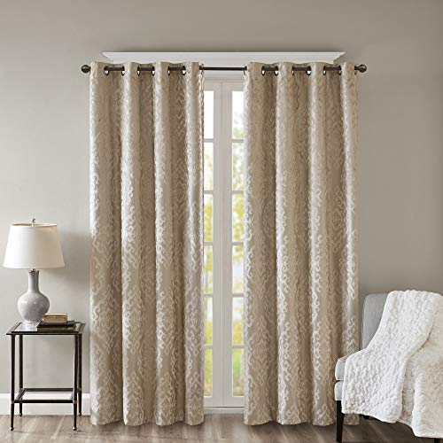 """SunSmart Mirage 100% Total Blackout Single Window Curtain, Knitted Jacquard Damask Room Darkening Curtain Panel with Grommet Top, 50x84"""", Champagne"""