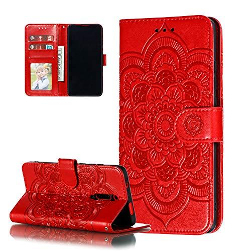 COTDINFOR Etui für Xiaomi Redmi 8A Hülle PU Leder Cover Schutzhülle Magnet Tasche Flip Handytasche im Bookstyle Stand Kartenfächer Lederhülle für Xiaomi Redmi 8A Red Mandala LD.