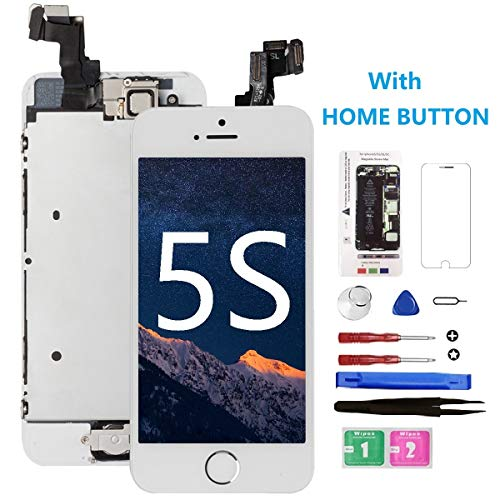 for iPhone 5S Screen Replacement with Home Button[White], Mobkitfp Full Assembly LCD Display Digitizer Screen with Magnetic Screw Mat+Repair Tools Kit+Tempered Glass for A1533, A1530, A1453, A1457