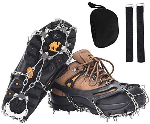 DAFENP Crampones Ligeros 19 Dientes Tacos con Cadena de Dcero Inoxidable Antideslizante Crampones Nieve Hielo para Zapatos Invierno Montañismo Escalada Alpinismo Cámping Acampada (L, Negro)