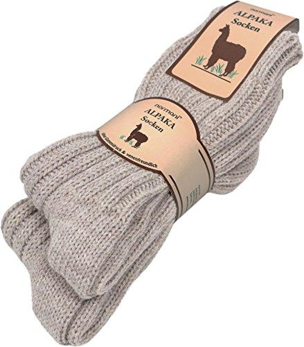 normani 2 Paar Sehr Dicke Flauschige Alpaka Socken Wintersocken Farbe Beige Größe 39/42