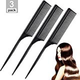 Leinuosen 3 Pack Styling Comb Carbon Fiber Anti Static Heat Resistant Tail Comb for Back Combing, Root Teasing, Adding Volume, Evening Styling (Black)