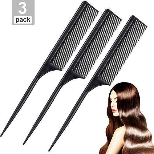Leinuosen 3 Pack Styling Comb Carbon Fiber Anti Static Heat Resistant Tail Comb for Back Combing Root Teasing Adding Volume Evening Styling Black
