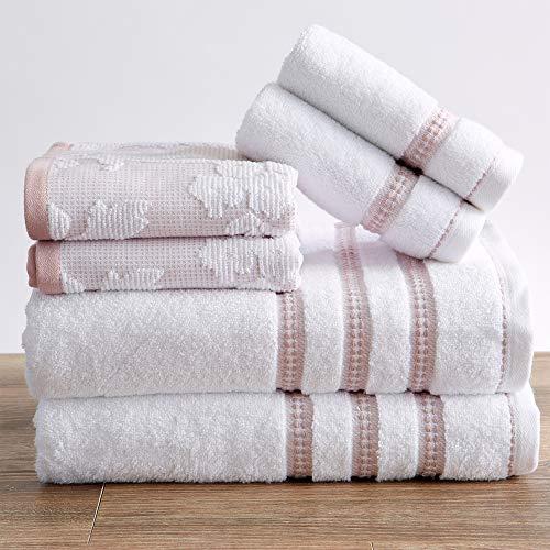 100% Cotton Floral Jacquard Bath Towels, Luxury 6 Piece Set - 2 Bath Towels, 2 Hand Towels and 2 Washcloths. Absorbent Super Plush Decorative Towels (6 Piece Set, White / Mauve)