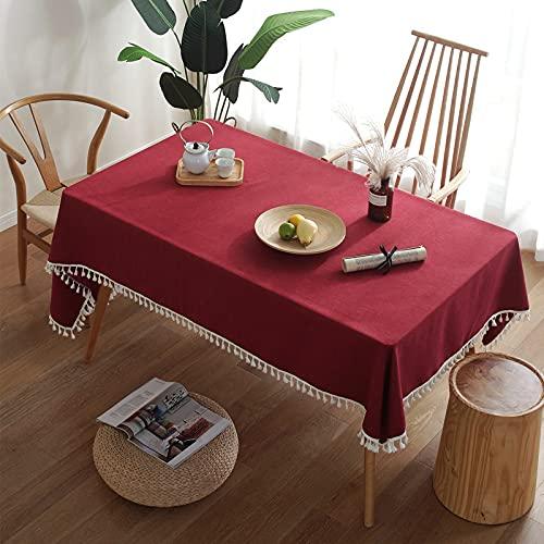 DSman Wachstuch-Tischdecke Abwaschbar Gartentischdecke Wachstischdecke Plastik-Tischdecken Quaste aus Reiner Pigmentfarbe imitiert Quasten aus Baumwolle und Leinen