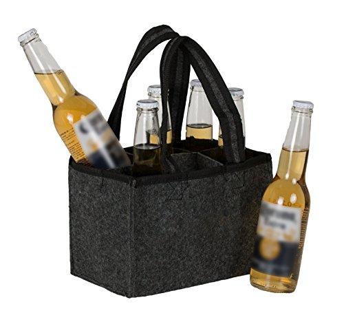 Brandsseller heren handtas flessenmand flessendrager boodschappentas opbergtas - van vilt - voor 6 flessen - verschillende designs
