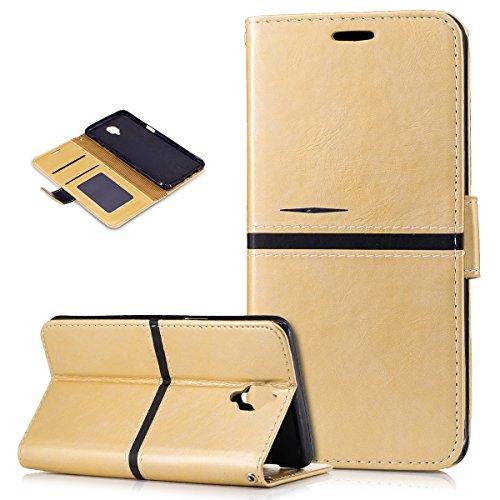 Kompatibel mit OnePlus 3T Hülle,OnePlus 3 Hülle,PU Lederhülle Flip Hülle im Bookstyle Ständer Wallet Soft Silikon Magnetverschluss Kunstleder Hülle Tasche Tasche Schutzhülle für OnePlus 3/3T,Gold