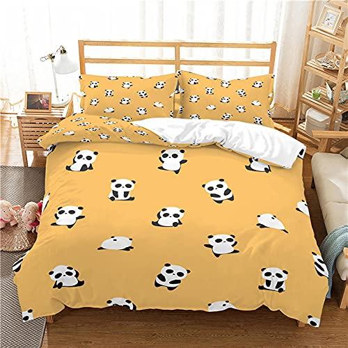 QDoodePoyerFunda Nórdica 240x220cmCama con 1 Funda de Almohada 50x75 cm Funda de Edredón de Microfibra Suave y Transpirable Juego de Cama para niñas Amarillo Lindo Animal Panda
