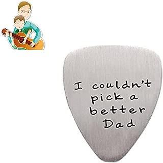 ギターピックセット フェンダー ピック ステンレス guitar picks 英字付きI couldn't Pick a Better Dad ファーザーズデー ギフト 父の日プレゼント(1Pcs シルバー)