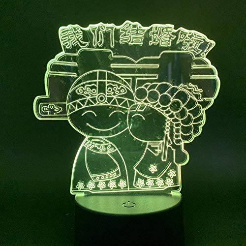 3D Illusion Lamp Led Night Light Were Always Married for Wedding Gift for Lover Novetly Decorative Desk Lamp Best Birthday Holiday Gifts for Children