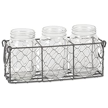 DII Z02015 Home Traditions Rustic Farmhouse Vintage Chicken Wire Flatware Caddy with Clear Glass Jars, Gray