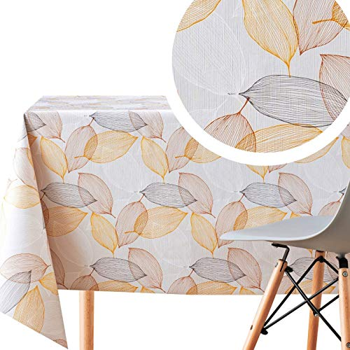 KP Home Nappe Toile Cirée Rectangulaire Blanc et Crème Orange Marron Feuilles Facile à Nettoyer - 200x140 cm - Nappe PVC Motif Feuilles Plastique Vinyle Epais Nettoyable à l'Eau