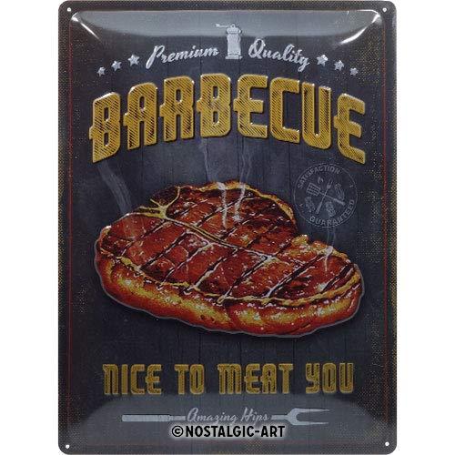 Nostalgic-Art 23292 Retro Blechschild Barbecue Nice To Meat You – Geschenk-Idee für Grill-Fans, aus Metall, Vintage-Dekoration