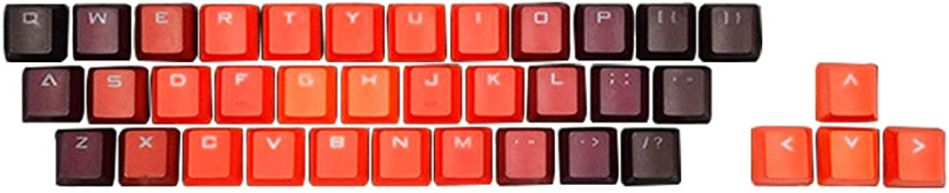 Echaprey Gradient 37 Keys PBT Keycaps Double-Shot Backlit Keycap Set for Mechanical Keyboard (Gradient Red)