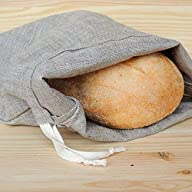 """Handmade Natura Linen Bread Bag for Long Loaf, 11x17"""", Reusable Eco Friendly Packaging, Kitchen Food Storage, Organic Fabric Shopping Package, Farmers Market Basket, Bakery Bags, Sac a Pain"""