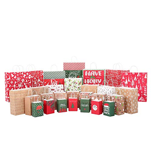 Christmas Gift Bags 28 Count,Xmas Holidays Kraft Gift Bags Assorted Sizes,7 Jumbo, 7 Large, 7 Medium, 7 Small
