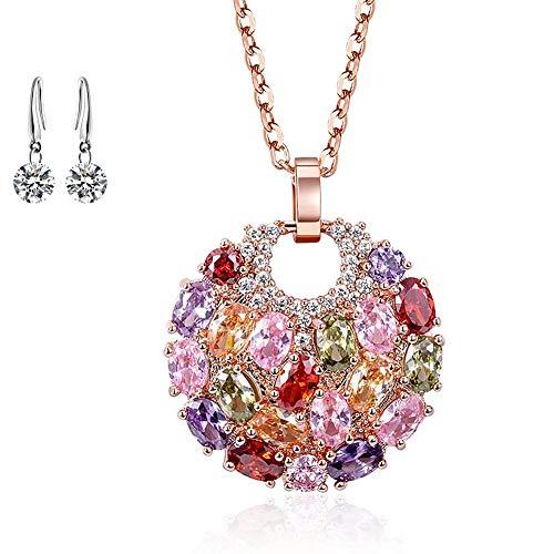 Lv.unique Collar de Mujer Collar con Colgante de circón de Oro Rosa Pendientes de Flores de Colores chapados en Oro/Pendientes delicados para Regalos de Mujer