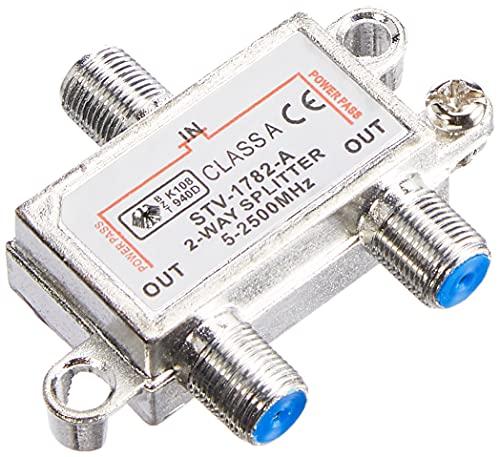 6233 - Splitter Satellitare 2 Vie, Partitore Antenna Tv da Interno con Connettore F, Splitter Satellitare, Ripartitore Antenna Tv, Partitore Tv Sat, Distributore di Segnale Terrestre e Satellitare