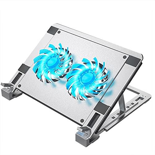 ulocool Laptop Ständer, Aluminium Laptop Kühler Stand Notebook Laptophalter, 12-15.6 Zoll Computerständer Notebook Kühlständer mit 2 Lüfter, 2200 RPM, 5 einstellbaren Höhen, USB Port & Typ-C-Port
