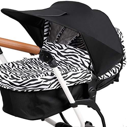 Funda para Cochecito de Bebé, Protección Solar Universal para Cochecitos, Parasol para Cochecito de Bebé, Parasol Ajustable con Protección UV 50+ ZJ RIGHT Toldo para Cochecito de Bebé Negro