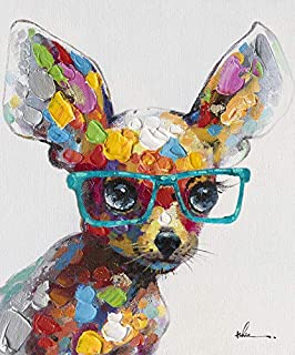 Chihuahua Glasses Wall Art Modern Printing On Canvas Painting with Hand Embellished Home Decor 28