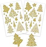AVERY Zweckform Art. 52273 Aufkleber Weihnachten 30 Weihnachtsbäume (Weihnachtssticker, Goldprägung, Papier, selbstklebend, Deko Weihnachten, Weihnachtspost, DIY)