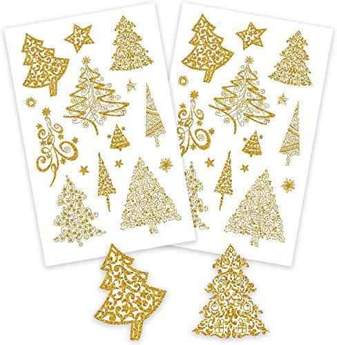AVERY Zweckform Art. 52273 Aufkleber Weihnachten 18 goldene Weihnachtsbäume (Weihnachtssticker mit Goldprägung, Papier, selbstklebende Weihnachtsdeko für Karten, Geschenke, DIY) mit kleinen Sternen