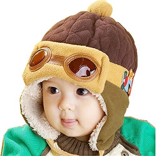 ZffXH Kinder Baby Winter Warm Trapper Trooper Mütze Earflap Flieger Pilotenkappe Elmer Bomber Jahr, coffee, Small