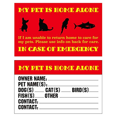 RXBC2011 Pet Emergency Cards My Pet is Home Alone Wallet Card Pack of 5