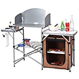 GYMAX Camping Kitchen Table with Windscreen, Folding Aluminum Outdoor Grill Table with Storage Lower Shelf & Carrying Bag, Heavy Duty Lightweight Picnic Table