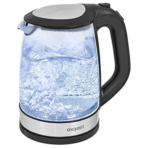 Exquisit WK 3501 swg Glas-Wasserkocher/Innenbeleuchtung / 2 Liter Fassungsvermögen / 2200 Watt/Edelstahlverzierung, 2 liters, schwarz